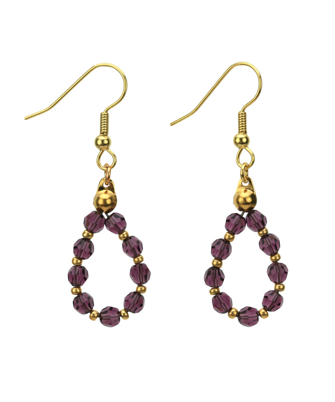 Gold February Amethyst Birthday Earrings