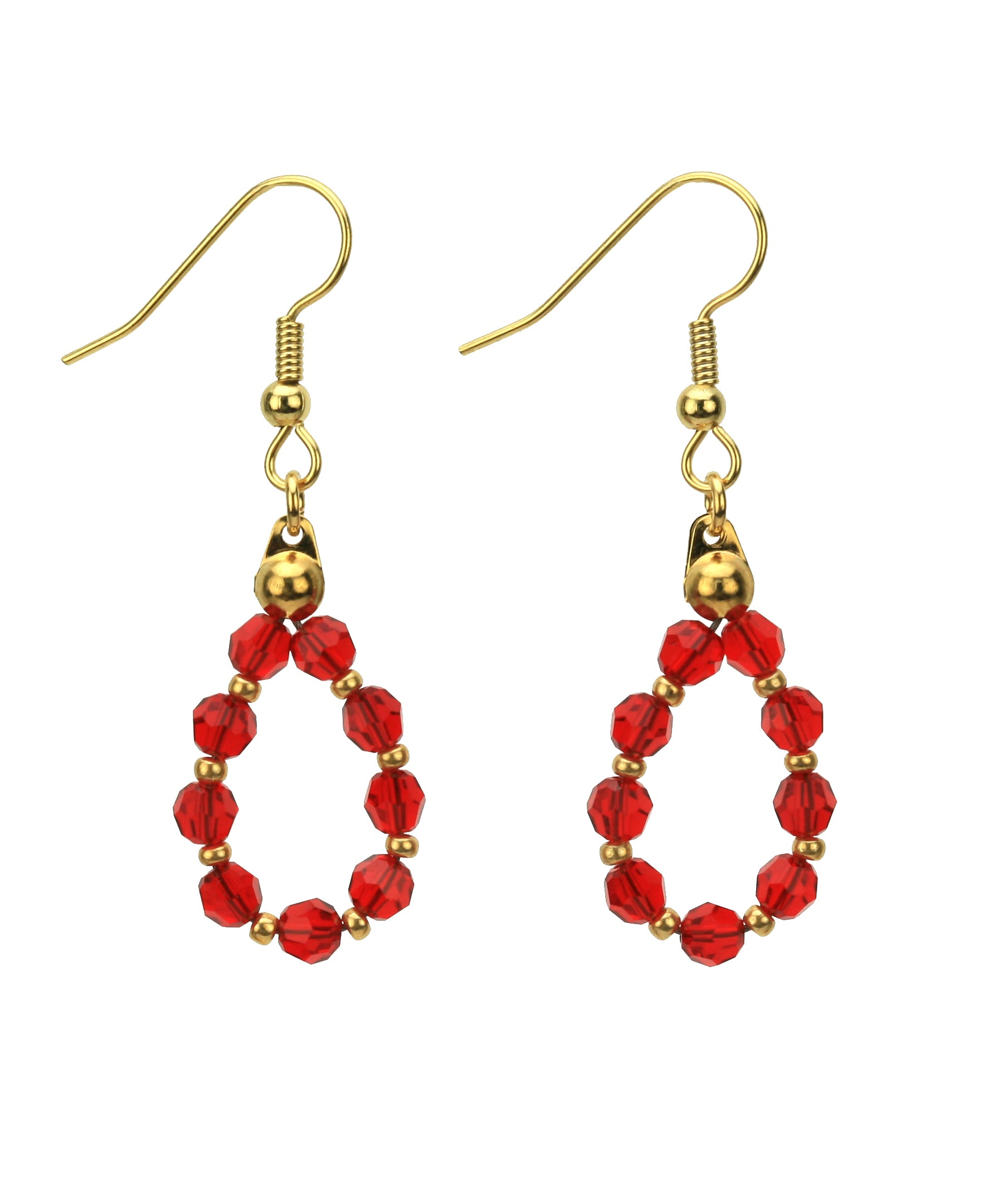 Gold July Light Siam Birthstone Earrings