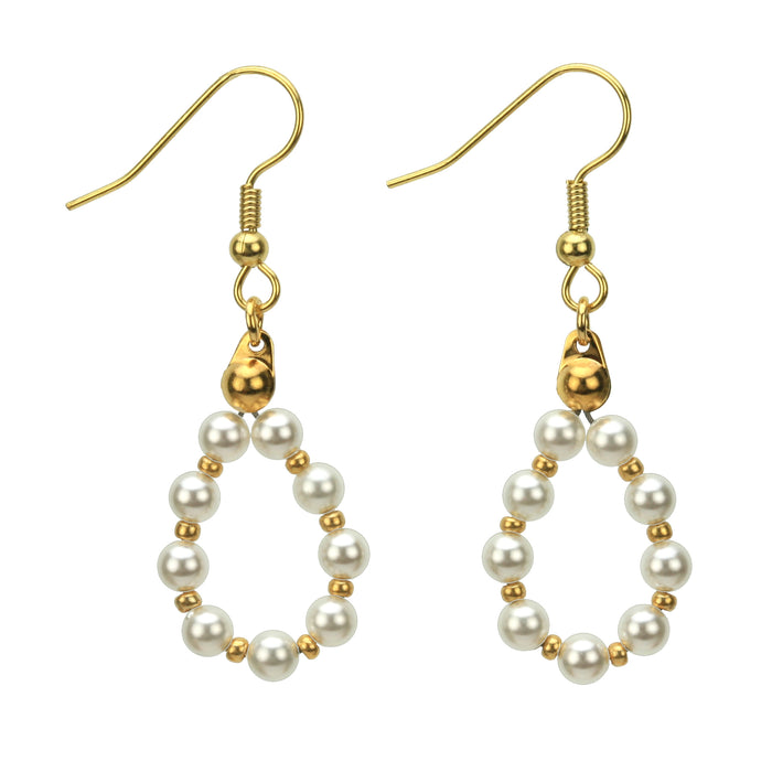 Gold June White Pearl Birthstone Earrings