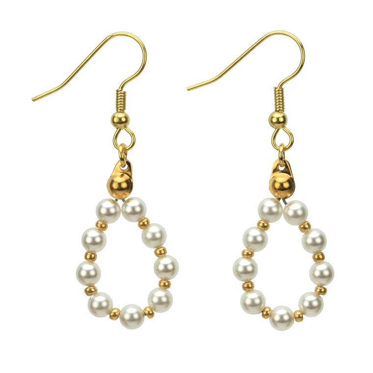 White Pearl Gold Hoop Earrings