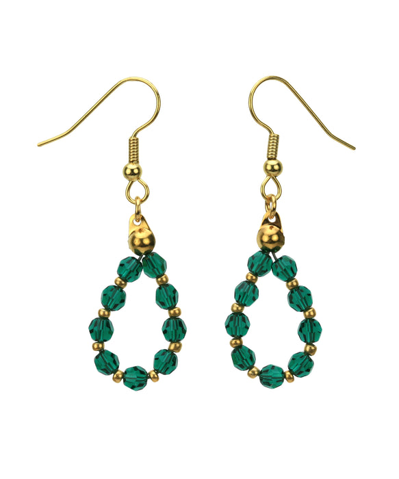 Gold May Emerald Birthstone Earrings
