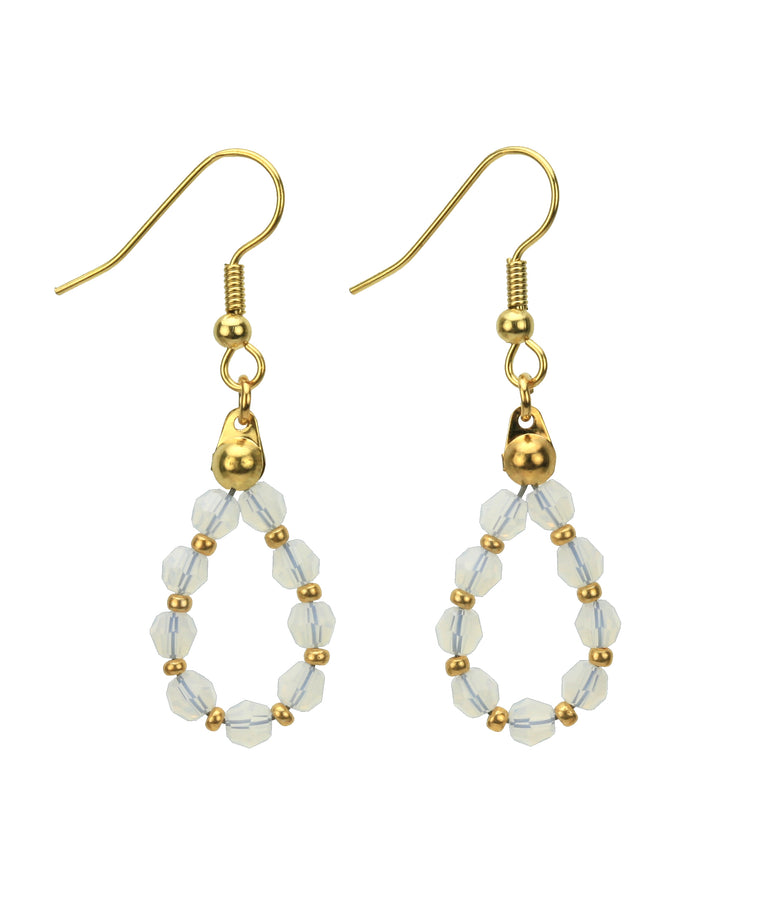 Gold October White Opal Birthstone Earrings