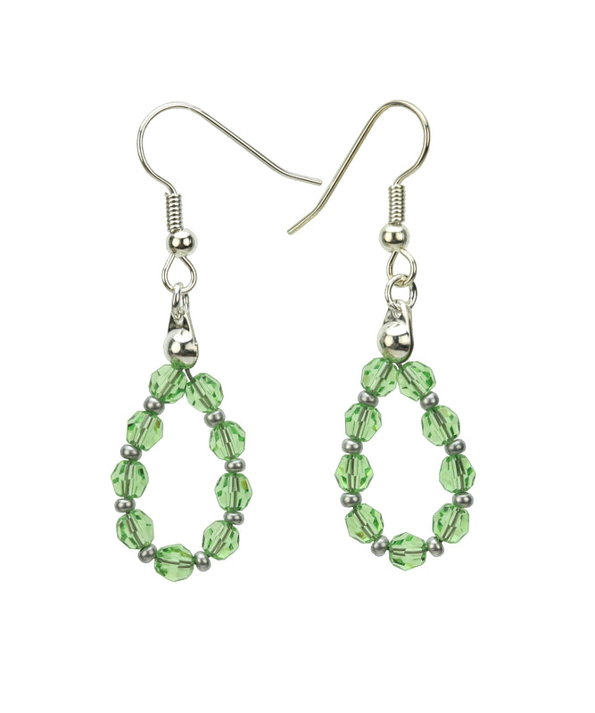 Silver August Peridot Birthstone Earrings