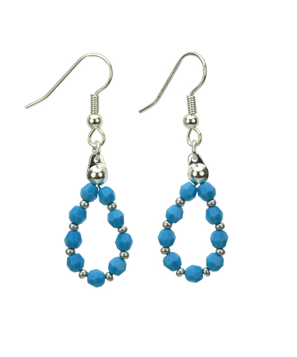 Silver December Turquoise Birthstone Earrings