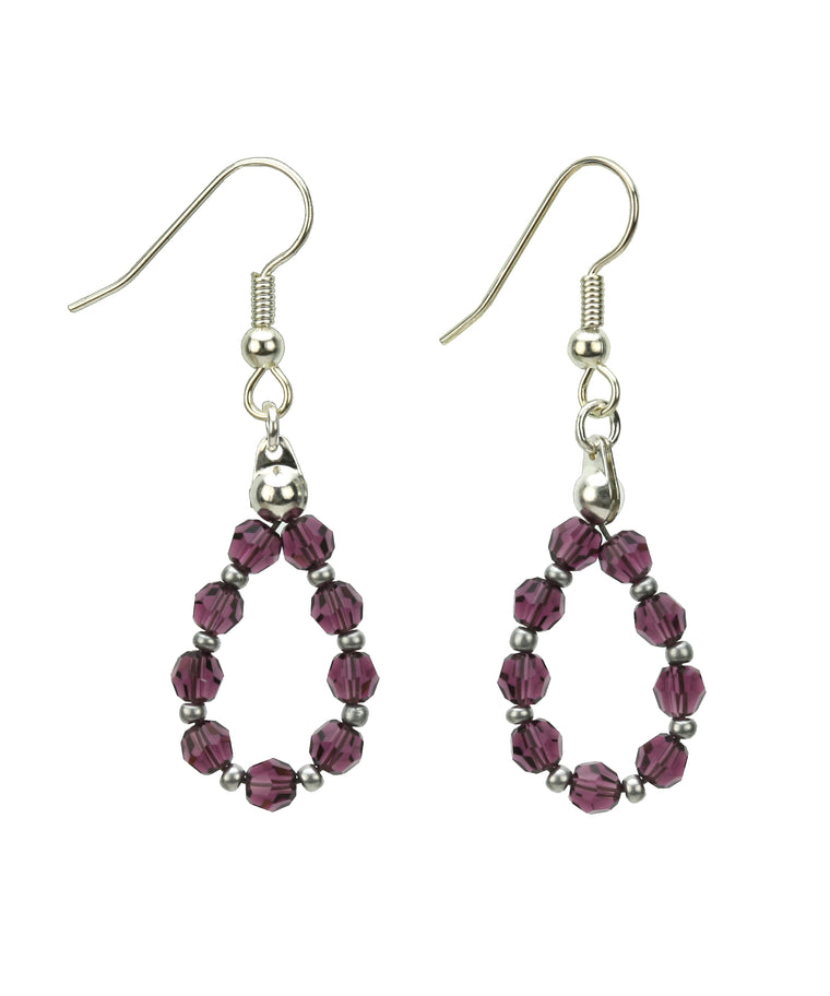 Silver February Amethyst Birthstone Earrings