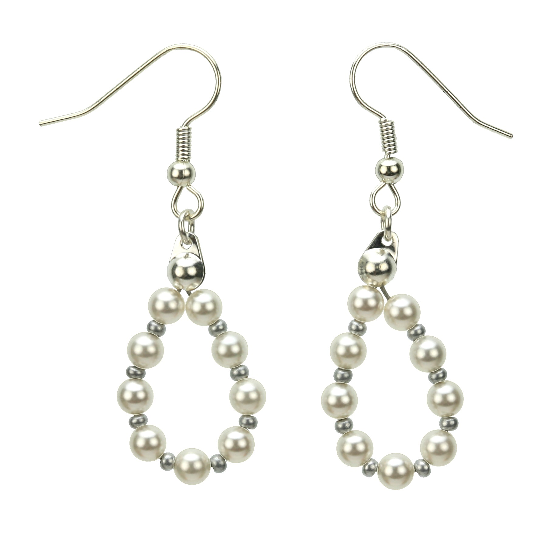 Silver June White Pearl Birthstone Earrings