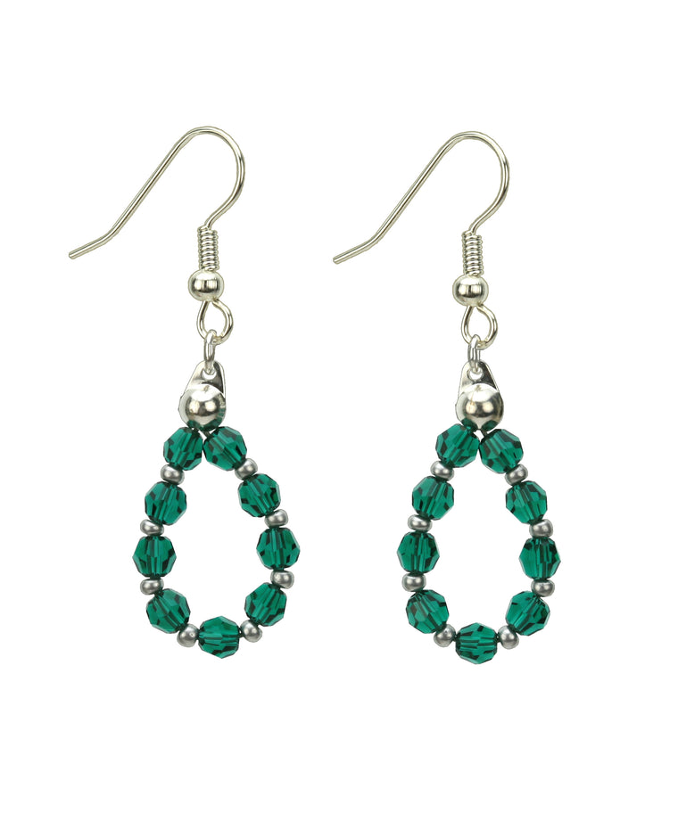 Silver May Emerald Birthstone Earrings