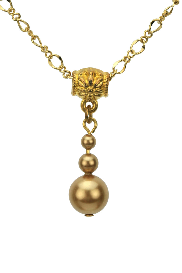 Antique Brass Pearl Gold Pendant