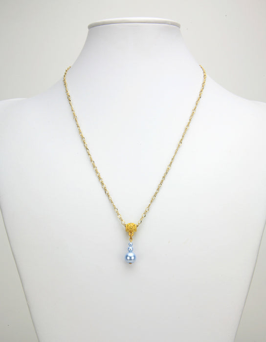 Light Blue Pearls Gold Pendant