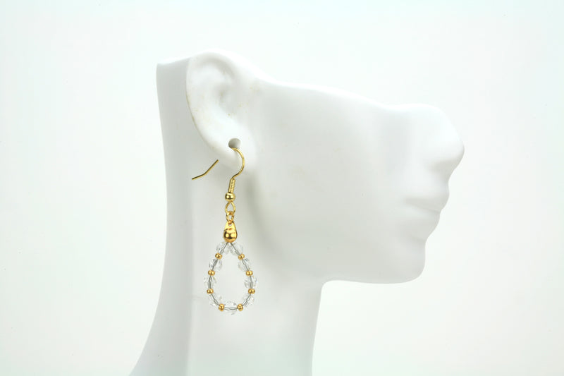 Gold April Crystal Birthstone Earrings
