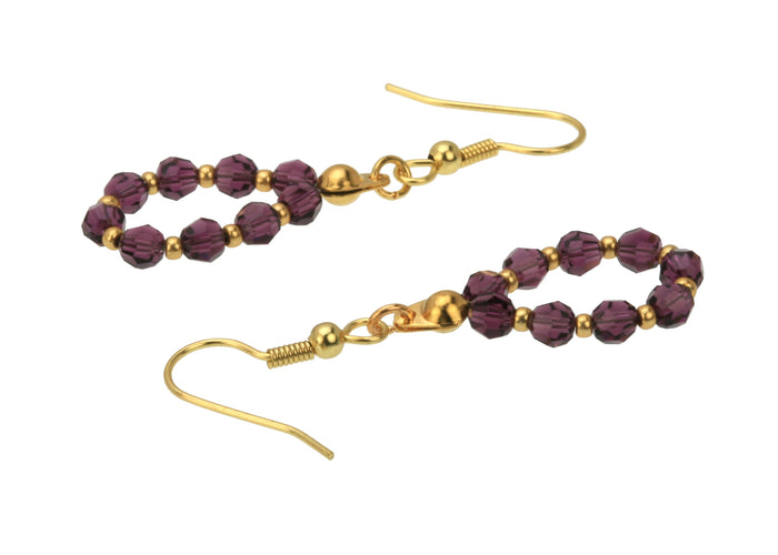 Gold February Amethyst Birthstone Earrings