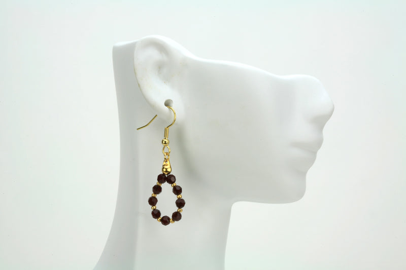 Gold January Siam Birthstone Earrings