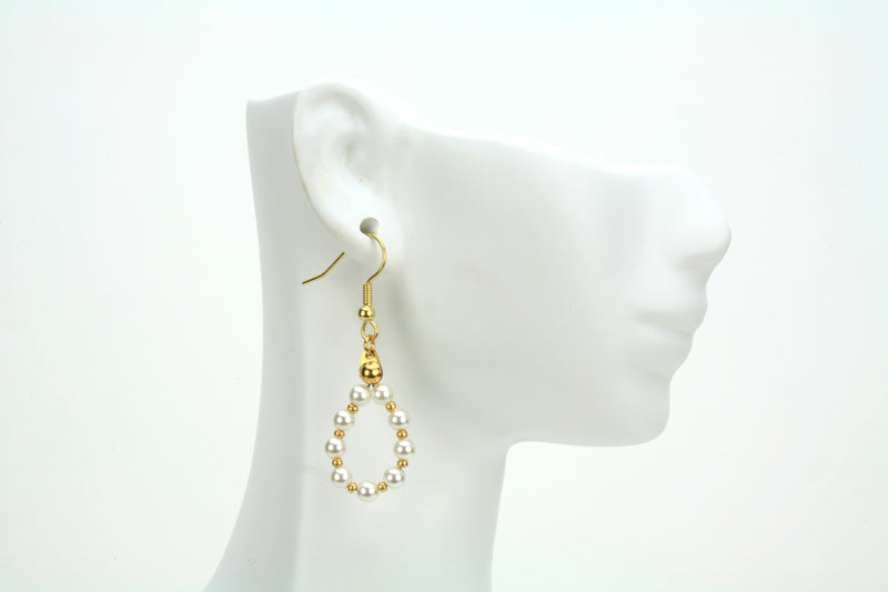 Gold June Pearl Birthstone Earrings