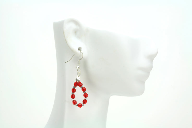 Silver July Light Siam Birthstone Earrings