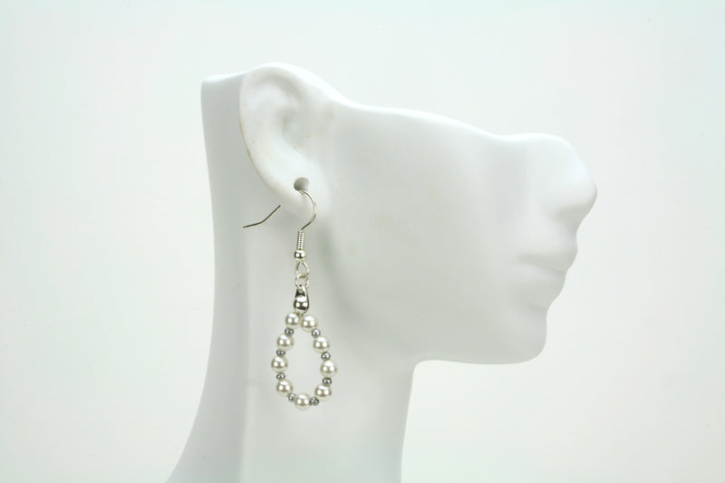 White Pearl Silver Hoop Earrings
