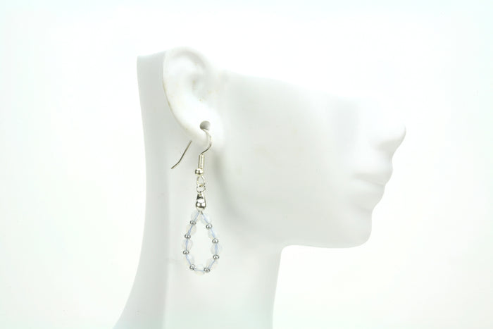 Silver October White Opal Birthstone Earrings
