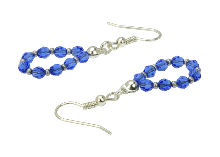 Silver September Sapphire Birthstone Earrings
