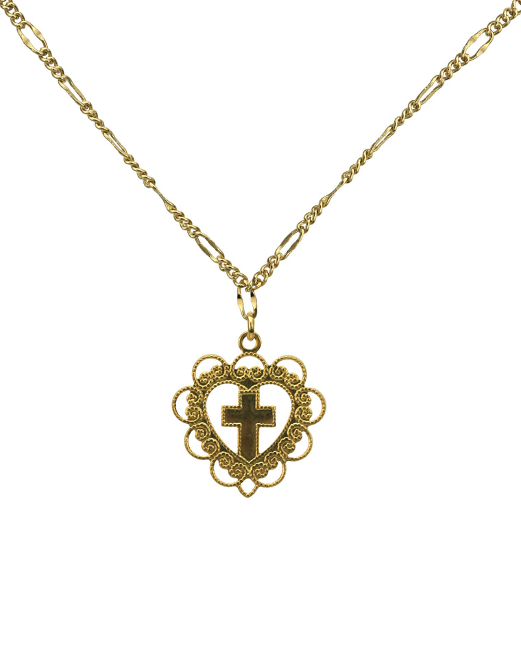 Cross and Heart Gold Pendant