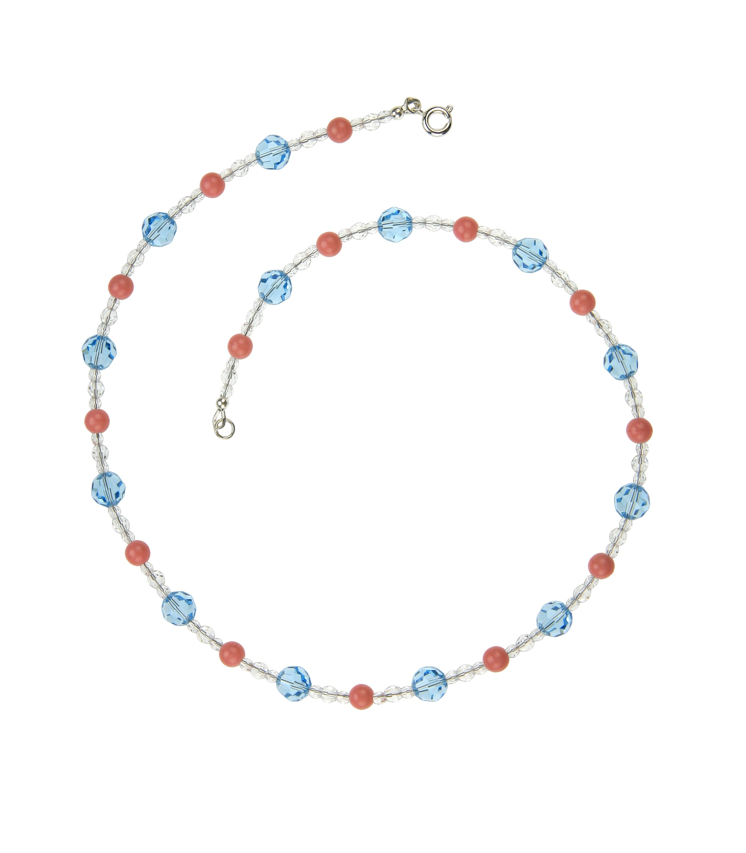 Crystal Pink and Aqua Silver Necklace