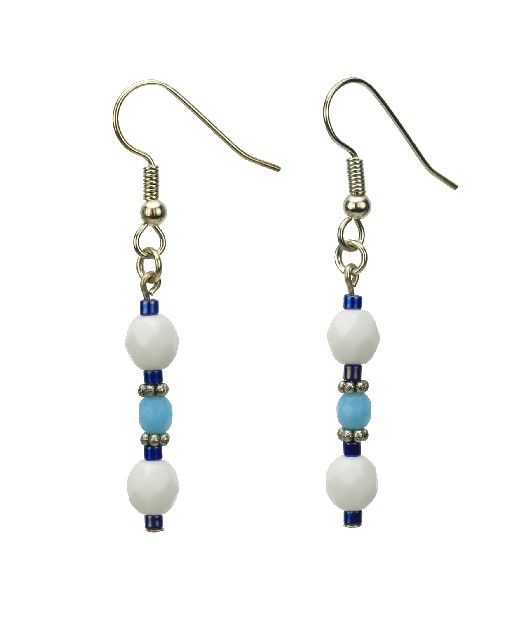 Opaque White and Turquoise Blue Silver Earrings