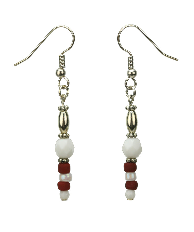 Brick Red and Opaque White Silver Earrings