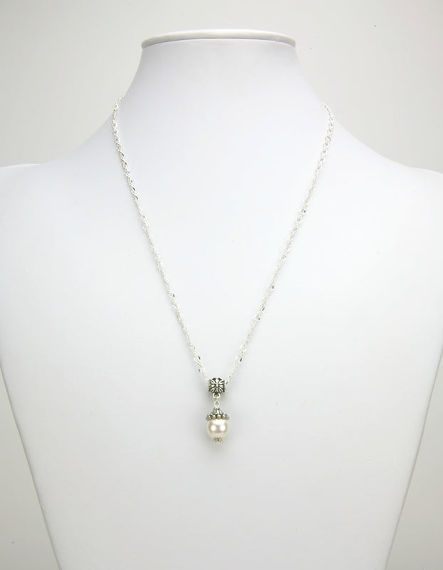 Artisan White Pearl with Bead Cap Silver Pendant