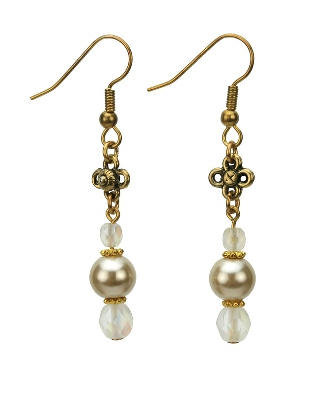 Beige Pearls and Opal Gold Earrings