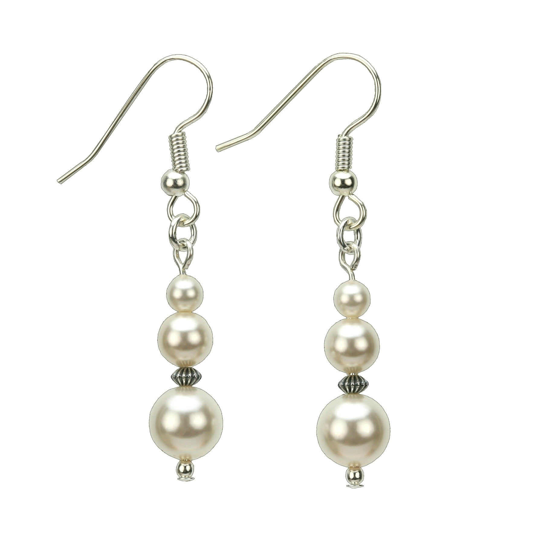 Pearl Three Bead June Birthstone Silver Earrings