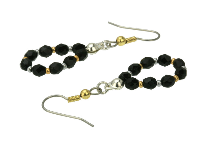 Black and Gold Silver Hoop Earrings