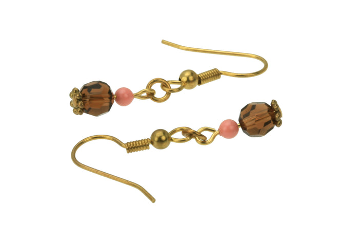 Smoked Topaz and Pink Coral Gold Dangle Earrings