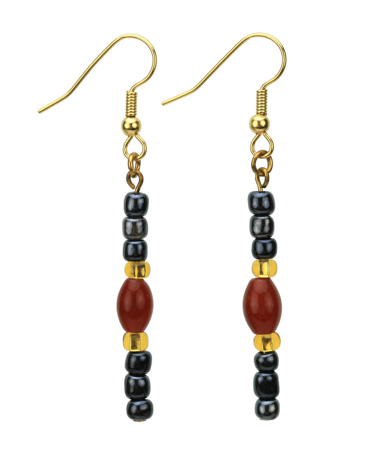 Carnelian Night Sky Gold Earrings