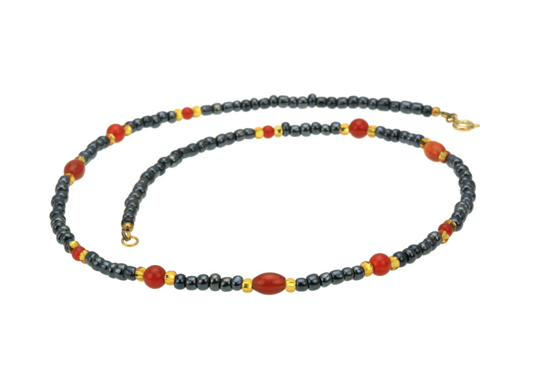 Carnelian Night Sky Gold Necklace