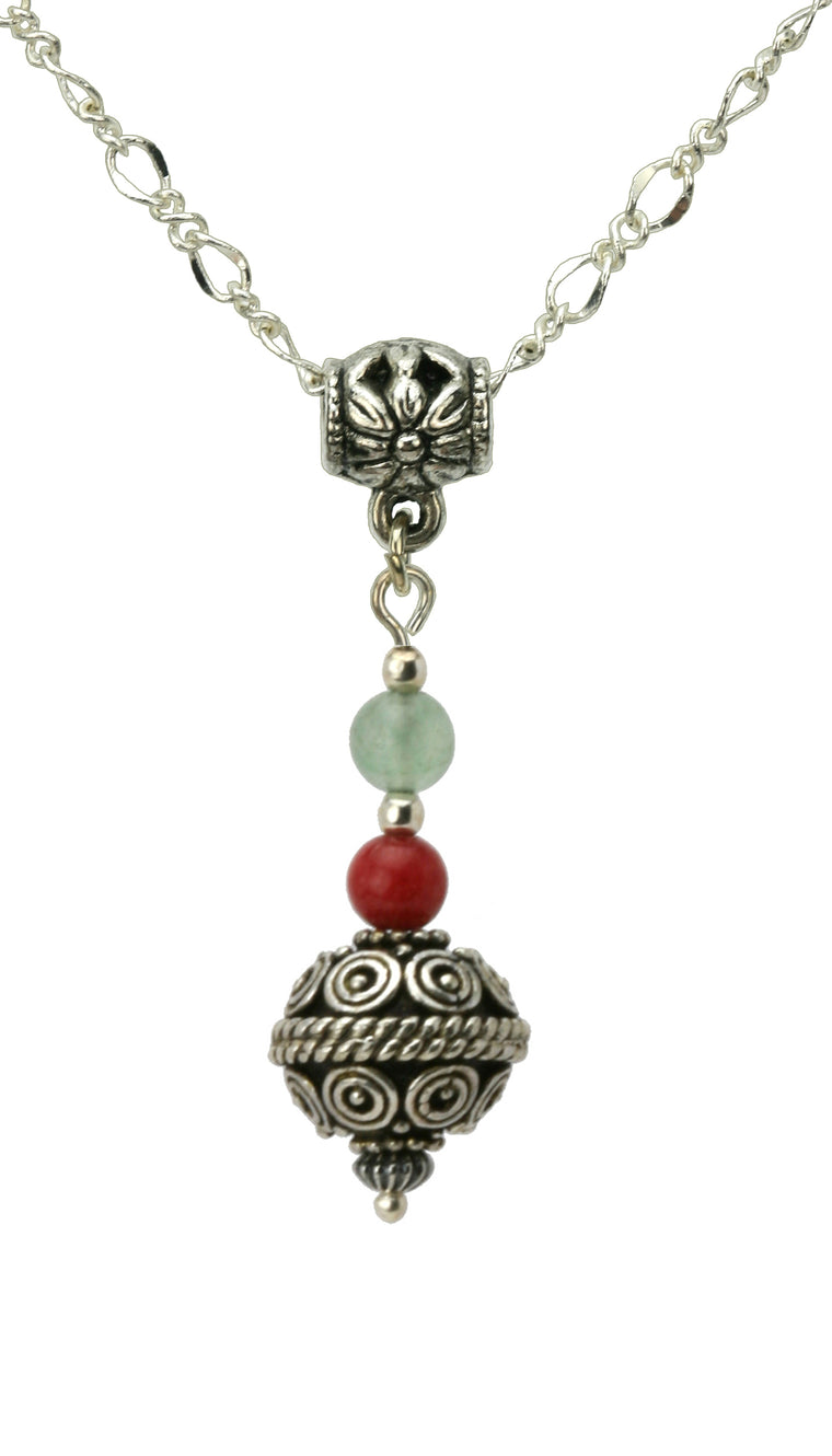 Green Aventurine, Red Mountain Jade and Antique Silver Ball Silver Pendant