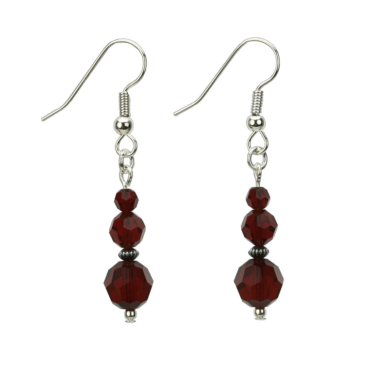 Siam Three Bead January Birthstone Silver Earrings