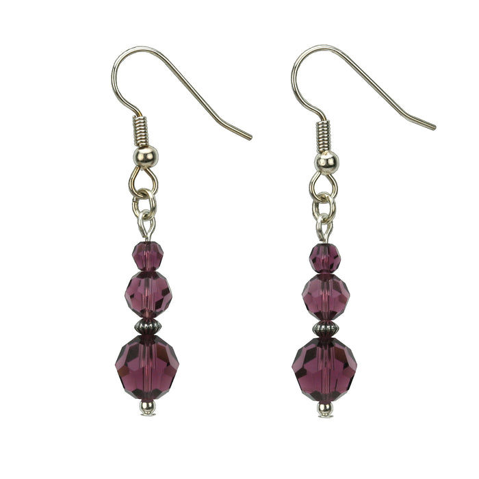 Amethyst Three Bead February Birthstone Silver Earrings