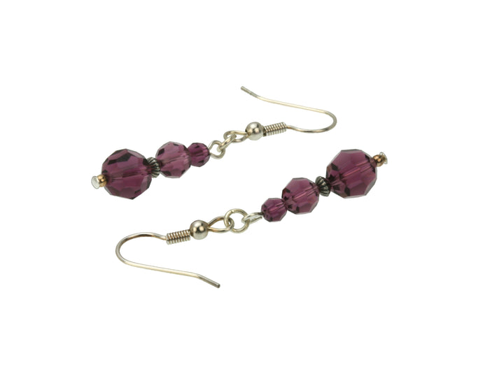 Amethyst Three Bead Silver February Birthstone Earrings