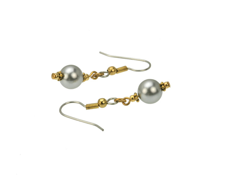 Light Grey Pearls and Rondelles Gold and Silver Earrings
