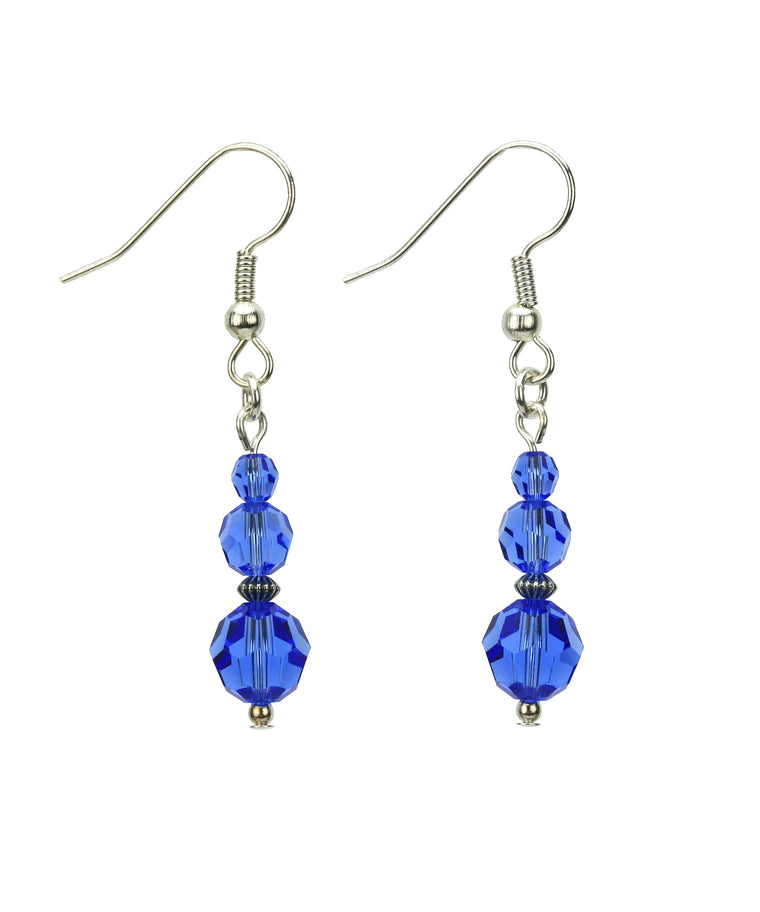 Sapphire Three Bead September Birthstone Silver Earrings