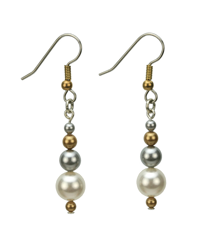 White Pearl Gold and Silver Earrings