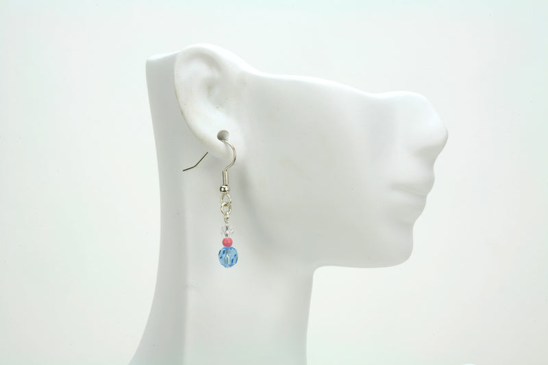 Crystal, Pink and Aqua Silver Dangle Earrings