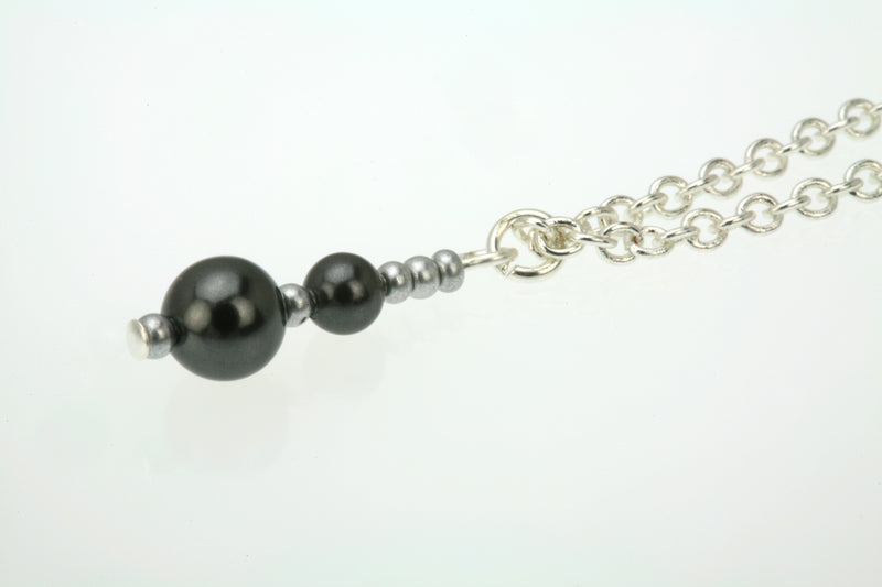 Double Black Pearls and Seed Beads Silver Pendant