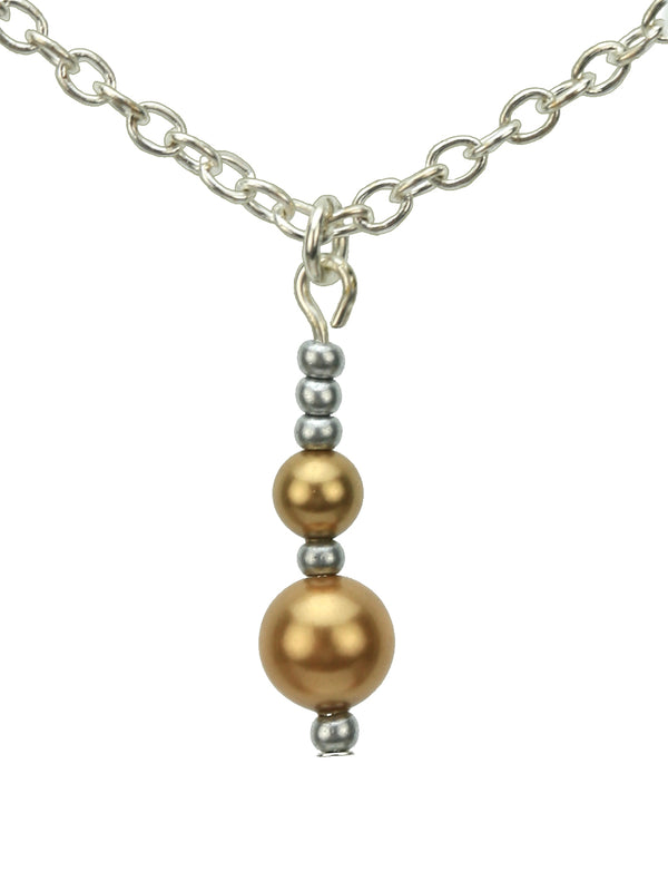 Double Bright Gold Pearls and Seed Beads Silver Pendant
