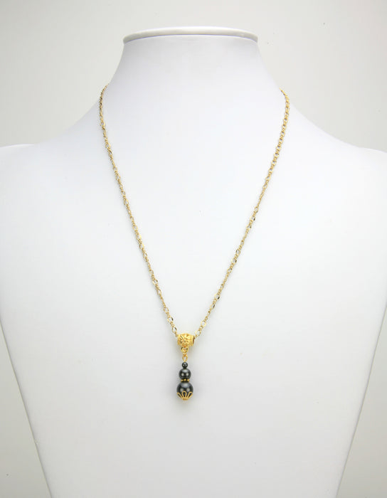 Triple Black Pearl Gold Pendant