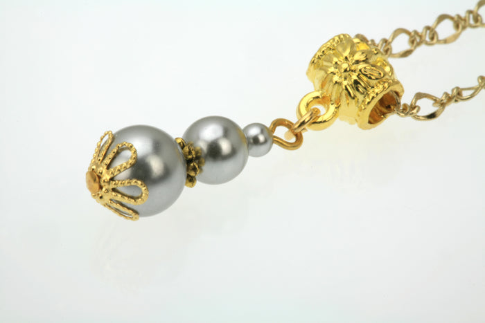 Triple Light Grey Pearl Gold  Pendant