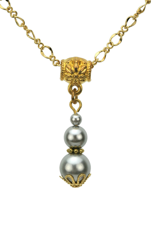 Triple Light Grey Pearls Gold Pendant