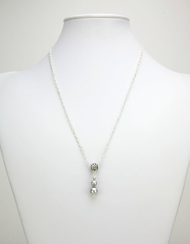 Triple Light Grey Pearl Silver Pendant