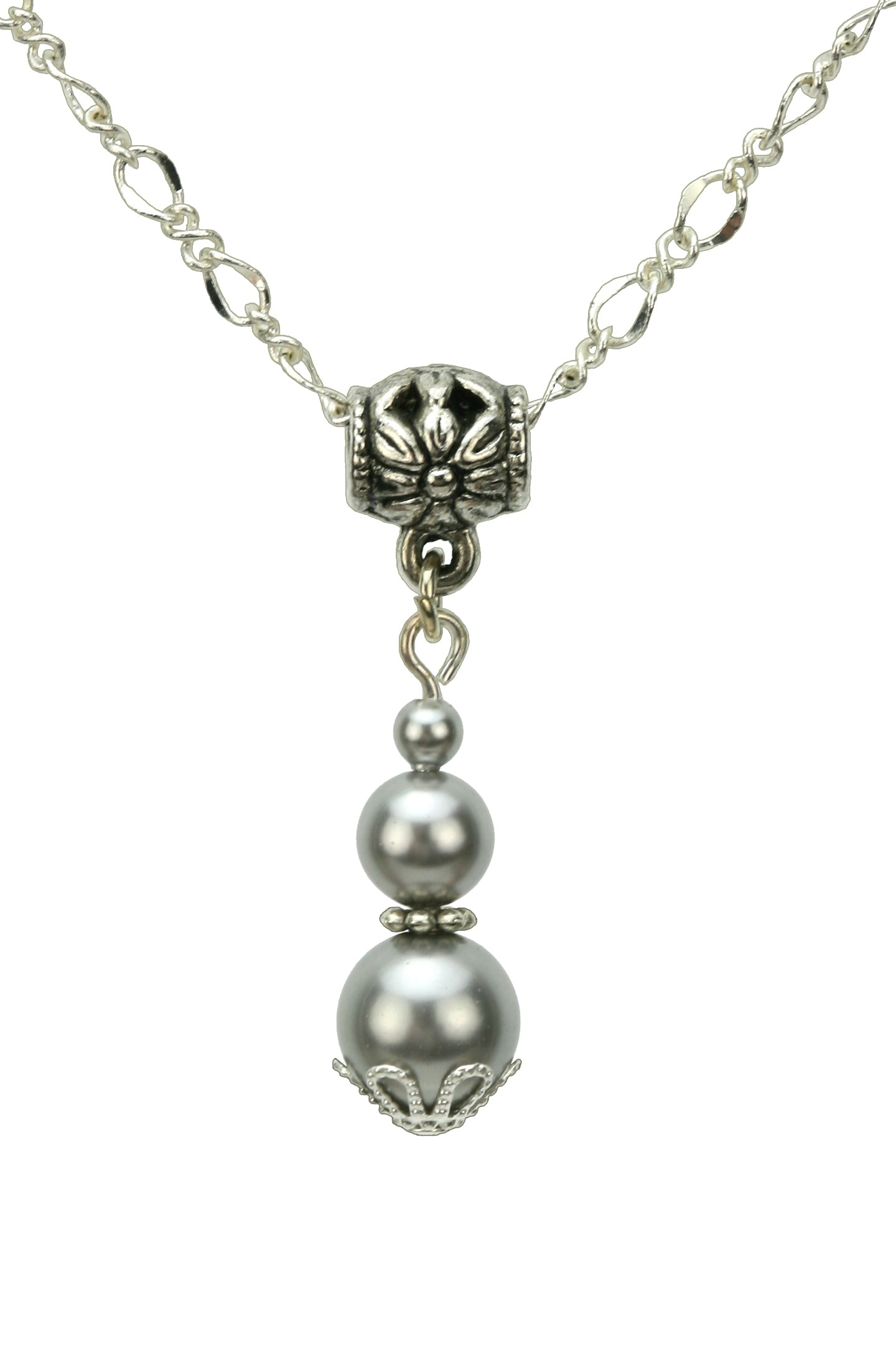 Triple Light Grey Pearls Silver Pendant