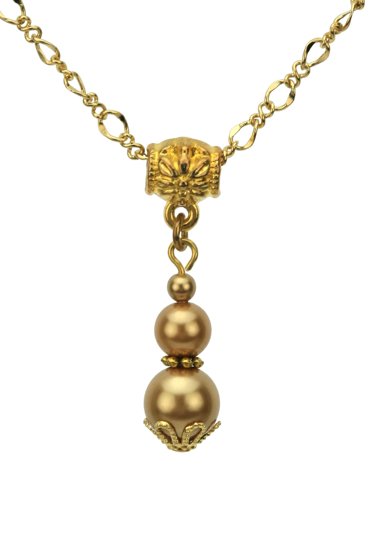 Triple Bright Gold Pearls Gold Pendant