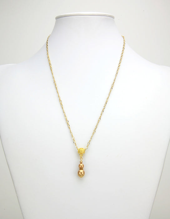 Triple Bright Gold Pearl Gold Pendant
