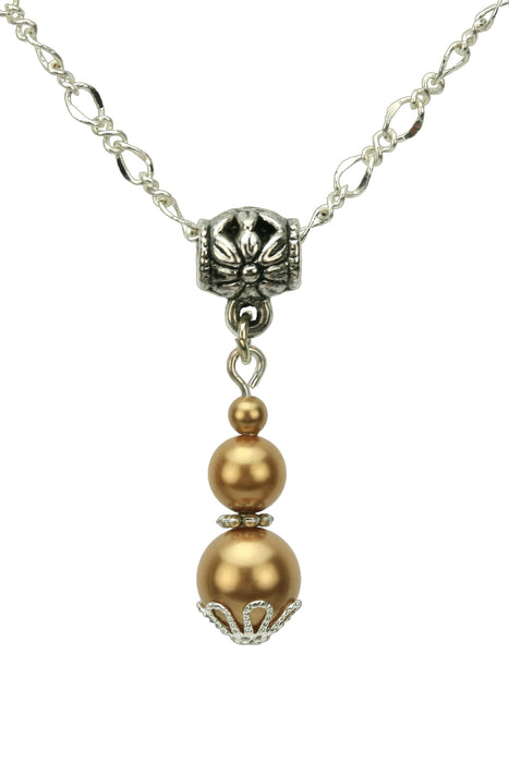 Triple Bright Gold Pearl Silver Pendant